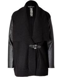Ralph Lauren Black Label Wool-cashmere Leather Sleeve Cardigan in Black - Lyst