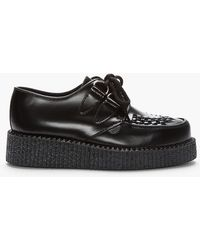 Underground Black Leather Single Sole Wulfrun Creepers - Lyst