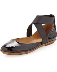 Dee Keller - Sandy Crisscross Ballerina Flat Black Patent 9 - Lyst