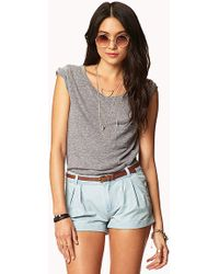 Forever 21 Pleated Chambray Shorts W Belt - Lyst