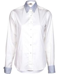 L'Agence Contrast Collar Blouse - Lyst