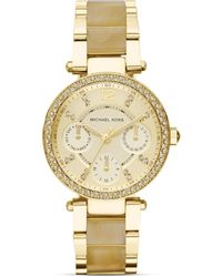 Michael Kors Mini-Size Horn Acetate And Gold Tone Parker Chronograph Glitz Watch, 33Mm - Lyst