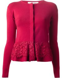 Valentino Lace Detail Cardigan red - Lyst