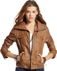 American Rag - Ribbed Faux Leather Bomber - Lyst