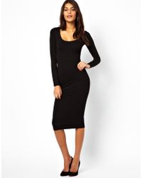 Asos Asos Midi Bodyconscious Dress with Long Sleeves - Lyst