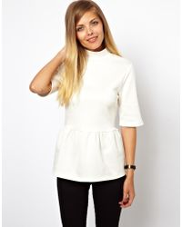 Asos Maternity  Top with Turtleneck and Peplum - Lyst