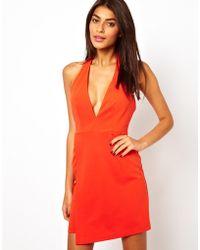 Asos Sexy Deep Plunge Zip Detail Mini Dress - Lyst