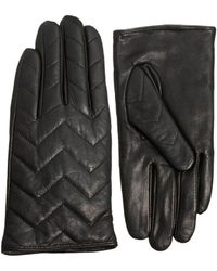 French Connection - Chevron Quilted Black Leather Gloves - Lyst