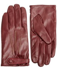 French Connection | Contrast Stitch Wine Leather Gloves | Lyst