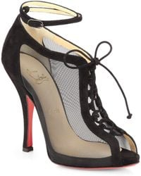 Christian Louboutin Abbessess 120 Mesh Suede Laceup Ankle Boots - Lyst