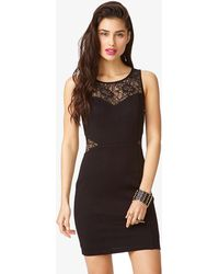Forever 21 Lace Trim Bodycon Dress - Lyst