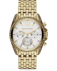 Michael Kors Crystalaccented Goldtone Stainless Steel Bracelet Watch - Lyst
