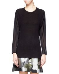 Edition10 - Sheer Sleeve Pleated Back Pullover - Lyst