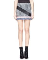 MSGM Tape Stripe Tweed Skirt - Lyst