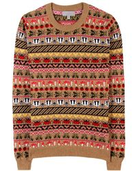 Mulberry - Fairisle Camel and Cashmereblend Pullover - Lyst
