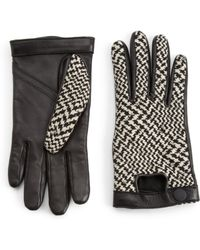 Rag & Bone Beacon Leather Houndstooth Knit Gloves - Lyst