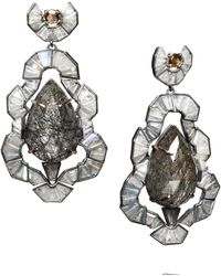 Nak Armstrong - Rose Gold Tourmalated Quartz and Labradorite Earrings - Lyst