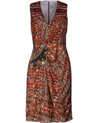 Altuzarra Multicolor Pattern V-Neckline Brown Dress - Lyst