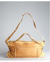 Celine Tan Leather and Suede Large Shoulder Bag - Lyst