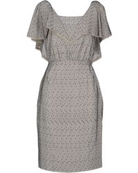 Fendi Square Neckline Light Grey Knee Length Dress - Lyst