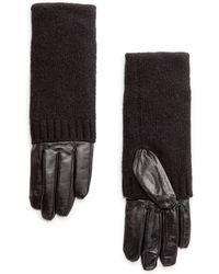 Mango Combi Leather Gloves - Lyst