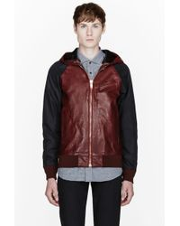Marc Jacobs Burgundy and Black Horse Leather Hoodie - Lyst