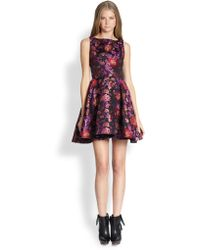 Alice + Olivia Foss Openback Jacquard Dress - Lyst