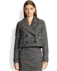 Burberry Cropped Tweed Jacket - Lyst