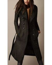 Burberry Long Wool Twill Trench Coat - Lyst