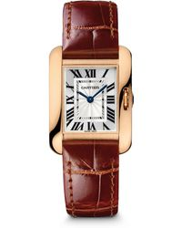Cartier Tank Anglaise Small 18K Rose Gold & Alligator Strap Watch - Lyst