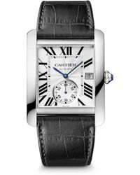 Cartier Tank Mc Stainless Steel Alligator Strap Watch - Lyst