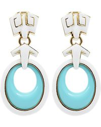 David Webb | Turquoise Earrings with White Enamel | Lyst