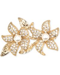 Jones New York - Goldtone Imitation Pearl and Crystal Double Flower Pin - Lyst