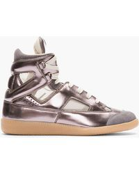 Maison Martin Margiela Ssense Exclusive Pewter Leather Replica High_tops - Lyst