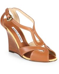 Manolo Blahnik Bran Strappy Leather Wedge Sandals - Lyst
