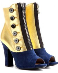 Miu Miu Leather And Suede Peep-Toe Boots - Lyst