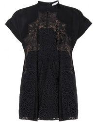 Stella McCartney Lace-Paneled Crepe Dress - Lyst