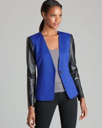 Vince Camuto - Faux Leather Sleeve Blazer - Lyst