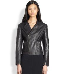 Bec & Bridge - Ribbed Panelled Leather Moto Jacket - Lyst
