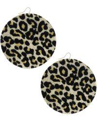 Material Girl - Gold Tone Leopard Glitter Disc Earrings - Lyst