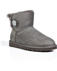 Ugg Suede Mini Bailey Button Bling Boots In Grey - Lyst