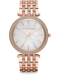 Michael Kors Crystalaccented Rose Goldtone Stainless Steel Bracelet Watch - Lyst