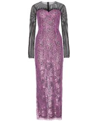 Alessandra Rich Ankle Length Lace Dress with Mesh Sleeves - Lyst