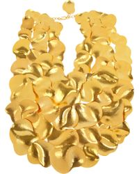 Herve Van Der Straeten - Hammered Gold Plated Bib Necklace - Lyst