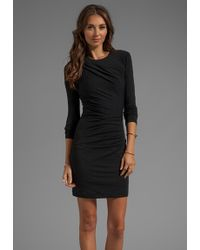 T By Alexander Wang Mohair Jersey Long Sleeve Drape Dress in Black - Lyst