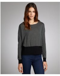 Autumn Cashmere Dark Grey And Black Cashmere Colorblock Pocket Sweater - Lyst