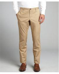 Gucci Beige Woven Skinny Fit Khaki Pants - Lyst
