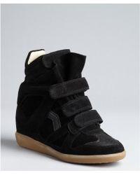 Isabel Marant Black Suede Hidden Wedge Sneakers - Lyst