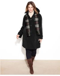 London Fog Single Breasted Hooded Raincoat with Plaid Scarf - Lyst