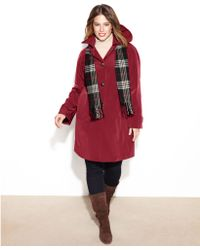 London Fog Singlebreasted Hooded Raincoat with Plaid Scarf - Lyst